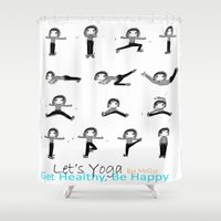 yoga Shower Curtains featuring yoga by Indraart
