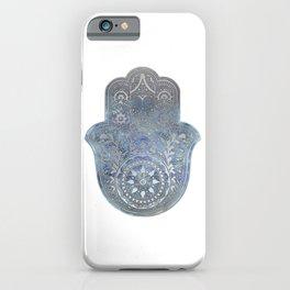 Silver Blues Hamsa Hand iPhone Case