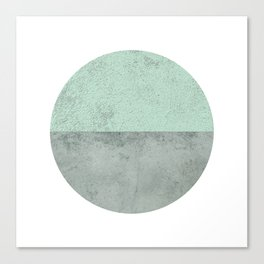 MINT TEAL GRAY CONCRETE CIRCLE Canvas Print