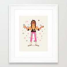 Bret Hart - Pro Wrestler Illustration Framed Art Print