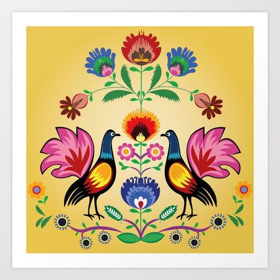 Polish Folk With Decorative Floral & Cockerels Art Print