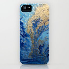 Abstract Pour Painting Liquid Marble Abstract Blue Painting Gold Accent iPhone Case