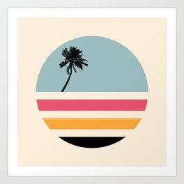 Retro Sunset 01 Art Print