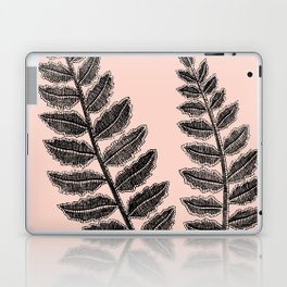 Black Lace Fern Blush Peach Laptop & iPad Skin