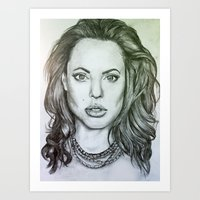 angelina jolie Art Prints featuring Angelina Jolie by Kat Lyon