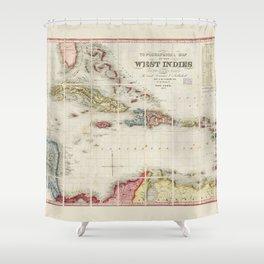 West Indies Map (1853) Shower Curtain
