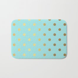 Gold polka dots on aqua background - Luxury turquoise pattern #Society6 Bath Mat
