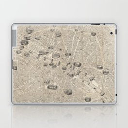 Vintage Map of Paris France (1841) Laptop & iPad Skin
