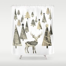 Winter Woods, collage Shower Curtain