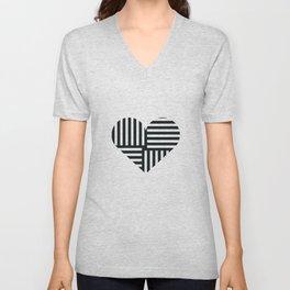 Black and White Abstract Stripe Heart Unisex V-Neck