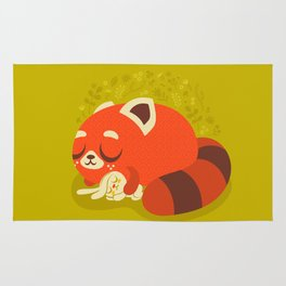 Sleeping Red Panda and Bunny / Cute Animals Rug