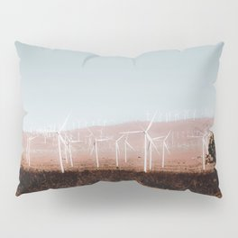 Wind turbine in the desert with blue sky at Kern County California USA Pillow Sham