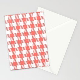 Plaid Pattern 512 Coral Stationery Cards