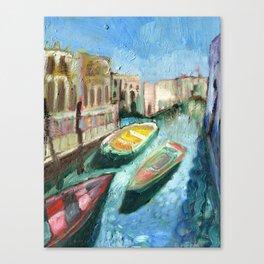 Three Boats Venice Canvas Print