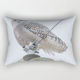Snowy Owl on Power Lines Rectangular Pillow