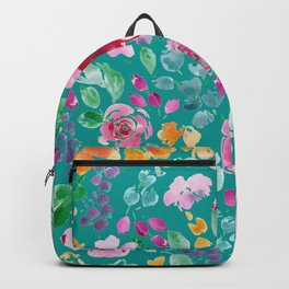 Summer Blooms on Teal Backpack