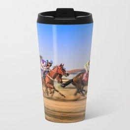 horses racing Metal Travel Mug