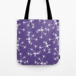 Floral Fireworks - Ultra Violet Botanical Pattern Tote Bag