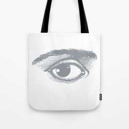 I see you. Gray on White Tote Bag