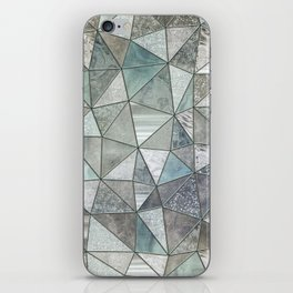 Teal And Grey Triangles Stained Glass Style iPhone Skin