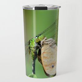 Dragonfly eating butterfly. Travel Mug