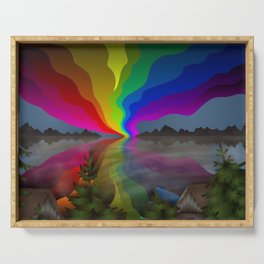 Abstract Rainbow Landscape Serving Tray
