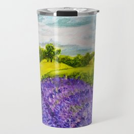 Lavender Fields Watercolor Travel Mug