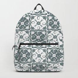 White Rosette Green Grey Backpack