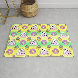 Cute funny Kawaii chibi pink little playful baby kittens, happy sweet donuts and adorable colourful yummy cupcakes seamless sunny yellow fantasy pattern design. Nursery decor ideas. Rug