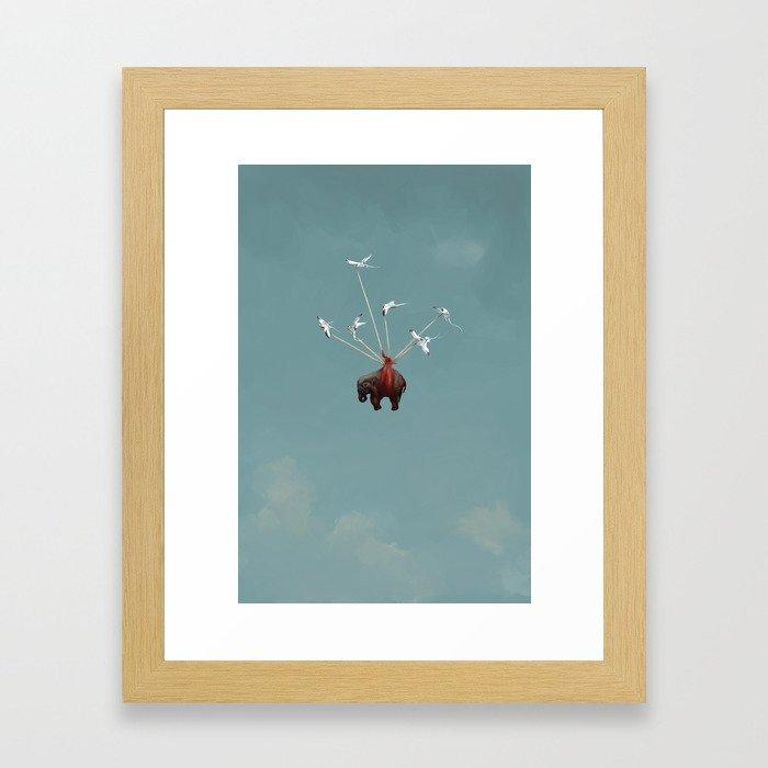 Baby Elephant Flies Framed Art Print