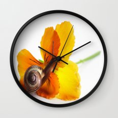 Little snail loves flowers Wall Clock
