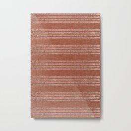 farmhouse stitch - rust Metal Print