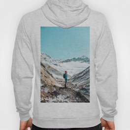 UNRECOGNIZABLE - PERSON - STANDING - ON - SNOWY - PATH - AND - ADMIRING - VIEW - ON - MOUNTAIN - PHOTOGRAPHY Hoody