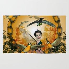 Cute fairy with songbirds Rug