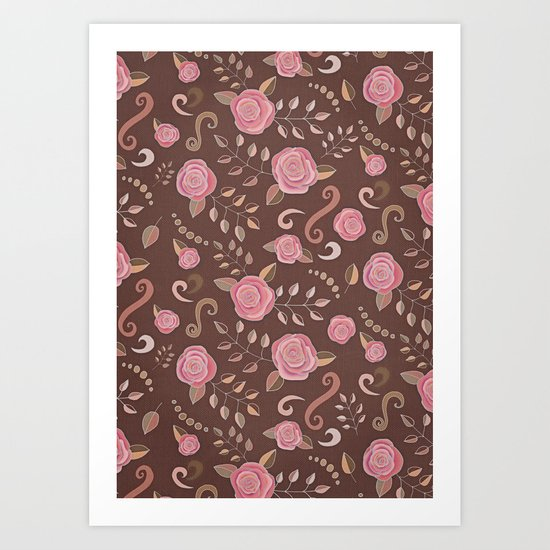 Coffee Roses - vintage rose pattern in pink and brown Art Print