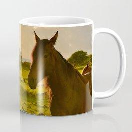 Sunrise with wild horses Coffee Mug