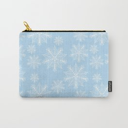 Christmas snowflakes pastel blue Carry-All Pouch