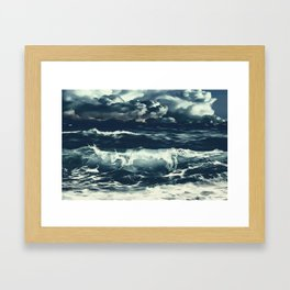 stormy sea waves reacfn Framed Art Print