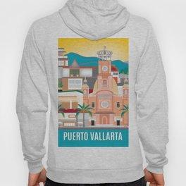 Puerto Vallarta, Mexico - Skyline Illustration by Loose Petals Hoody