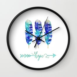 Motivational Blue Feather Watercolor Hope Wall Clock