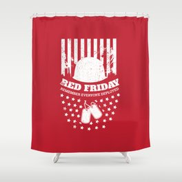Red Friday American Flag Military Shower Curtain