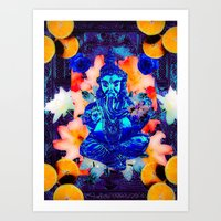 ganesh Art Prints featuring ganesh by CandiCollage