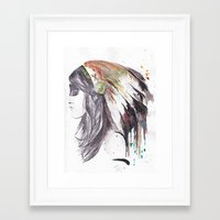 indiana Framed Art Prints featuring Indiana  by Megan Sheridan