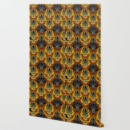 ART DECO YELLOW BLACK COFFEE BROWN AGAVE ABSTRACT Wallpaper