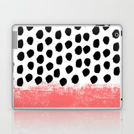 Lola - painted dot minimal coral black and white trendy abstract home decor Laptop & iPad Skin
