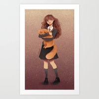 hermione Art Prints featuring Hermione by C. Cassandra