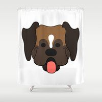 boxer Shower Curtains featuring Boxer by Sugar and Spice Menagerie