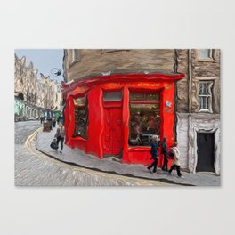 Red Store On Corner Canvas Print