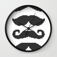 moustache Wall Clocks featuring Moustache by Jake  Williams