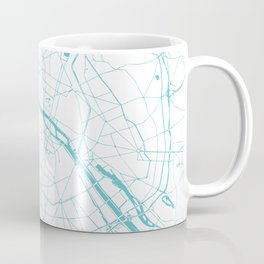 Paris France Minimal Street Map - Turquoise Blue and White Coffee Mug